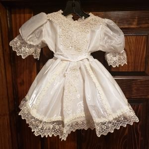 Tip top kids Christening baptism white lace dress